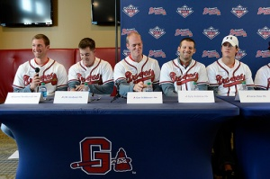 Atlanta Braves prospects from left to right: Aaron Northcraft, J.R. Graham, Gus Schlosser, Kyle Kubitza and Lucas Sims. Photo credit: Chris Roughgarden