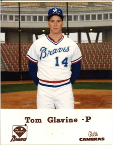 Glavine as a member of the Richmond Braves, likely during the 1987 season.  (Gwinnett Braves Archives)