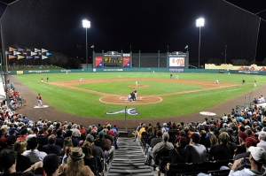 Night baseball at Champion Stadium, Spring Training home of the Atlanta Braves. (Chris Roughgarden)