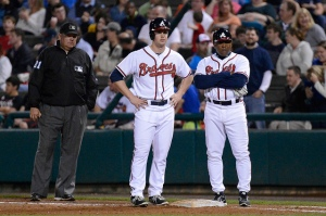 Todd Cunningham (center) has hit .250 with a home run and three RBIs in eight games for the Atlanta Braves thus far this spring. (Photo by Chris Roughgarden)