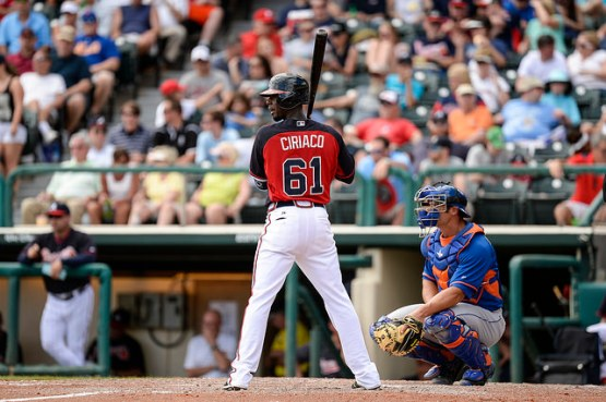 Pedro Ciriaco hit his first triple of Spring Training and drove in two runs Monday vs. Houston. (Photo by Chris Roughgarden)