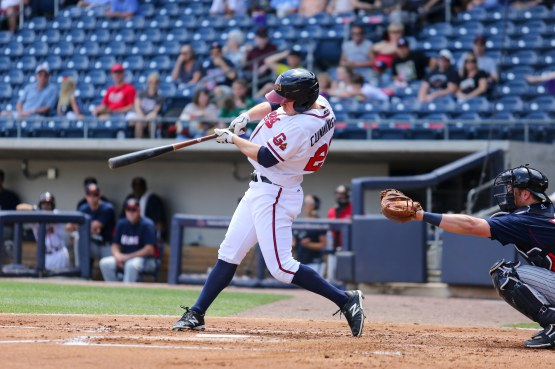 Atlanta Braves' outfielder Todd Cunningham had two consecutive three-hit games to begin his tenure in the Major Leagues this season. He batted .286 in 30 games with the Gwinnett Braves to begin the year. (Taylor Botta)