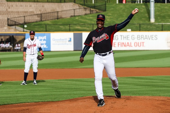 Former Atlanta Braves' first baseman Fred McGriff throws a ceremonial first pitch before the G-Braves' game on July 7 against the Norfolk Tides.
