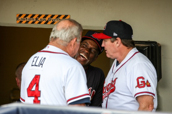 McGriff laughs with Atlanta Braves Senior Advisor to Player Development Lee Elia (left) and Gwinnett Braves hitting coach John Moses before the G-Braves' game on July 7 vs. the Norfolk Tides.