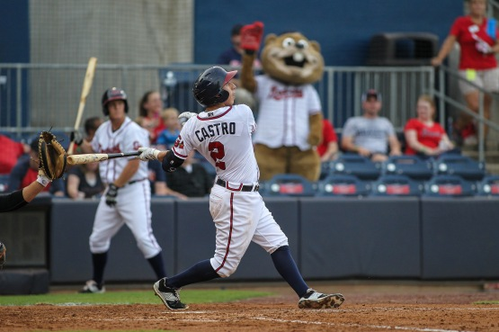 Daniel Castro batted .268 with nine doubles, 36 RBIs and 19 runs scored in 89 games for the Gwinnett Braves in 2015.