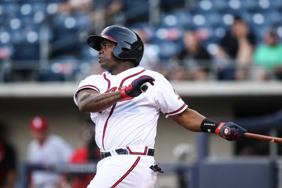Third baseman Adonis Garcia blasted eight home runs in his first 45 games as a rookie with the Atlanta Braves. (Karl Moore)
