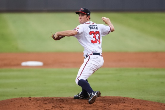 Weber went 0-1 with a 3.26 ERA with the Atlanta Braves in his first three career Major League starts. (Karl Moore)