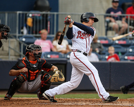 Kelly Johnson spent a two-game rehab assignment with Gwinnett in 2015, his first action with the club since 2009. (Jim Lacey / Gwinnett Braves)